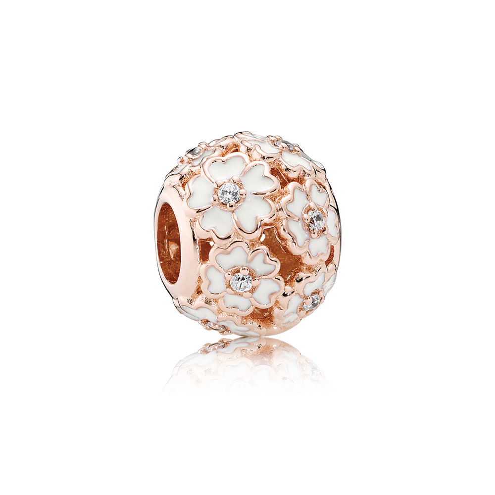 White Primrose Meadow, PANDORA Rose™ & White Enamel & Clear CZ