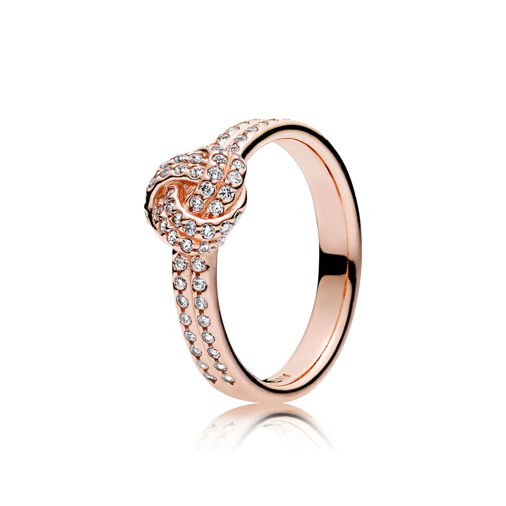 Sparkling Love Knot Ring, PANDORA Rose™ & Clear CZ
