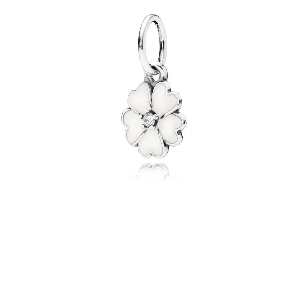 Primrose Pendant, White Enamel & Clear CZ, Sterling silver, Enamel, White, Cubic Zirconia - PANDORA - #390365EN12