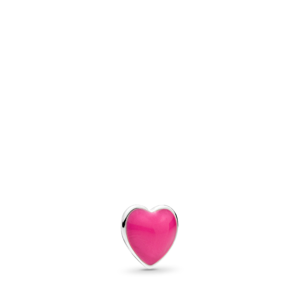 Magenta Heart Petite Locket Charm, Sterling silver, Enamel - PANDORA - #792169EN120
