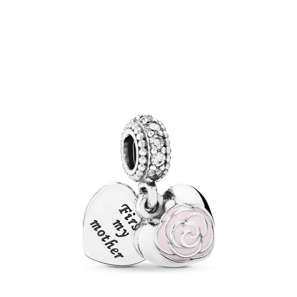 4aa0b5b44 Mother's Rose Dangle Charm, Pink Enamel & Clear CZ