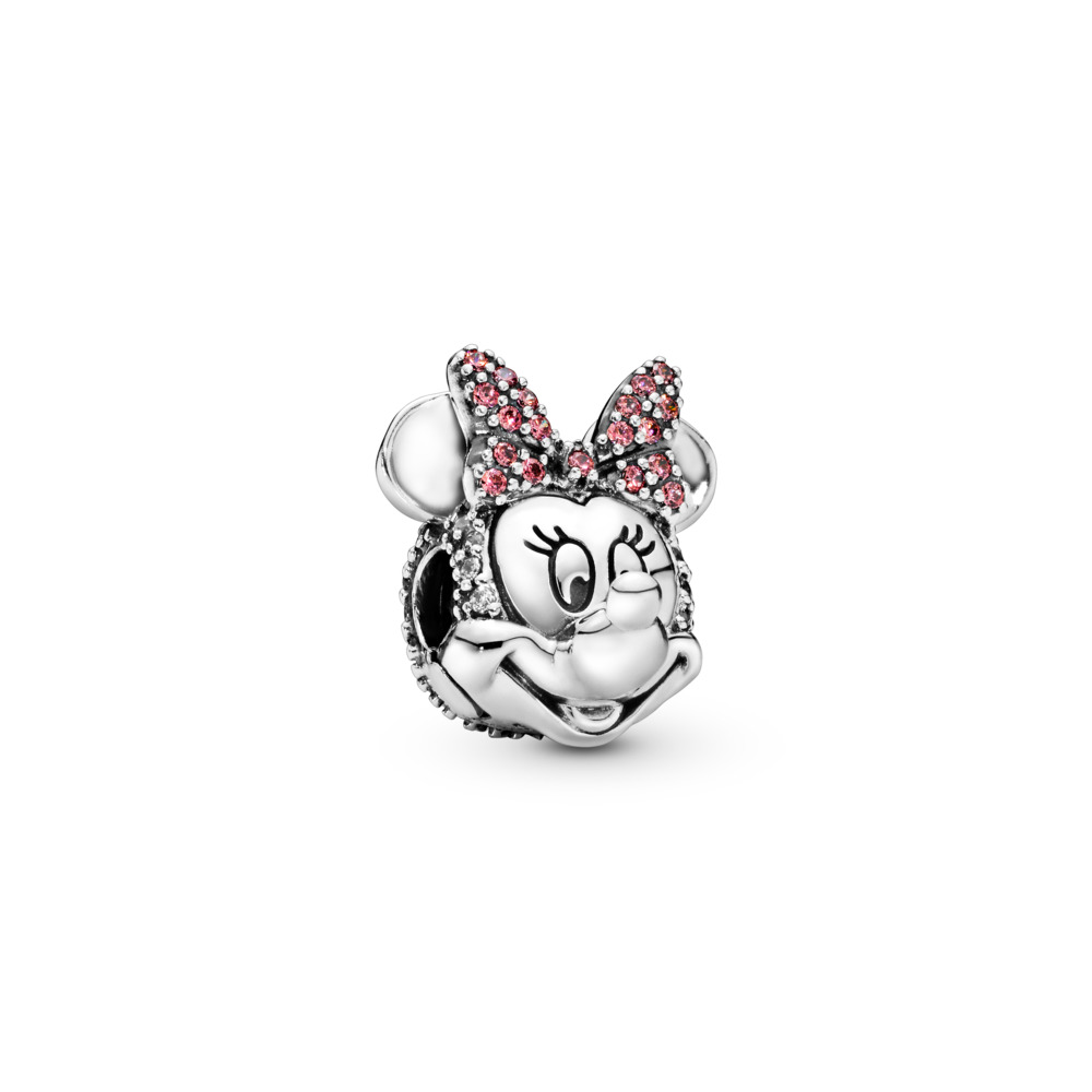 Disney, Shimmering Minnie Portrait Clip, Clear CZ & Pink Enamel, Sterling silver, Red, Cubic Zirconia - PANDORA - #797496CZS