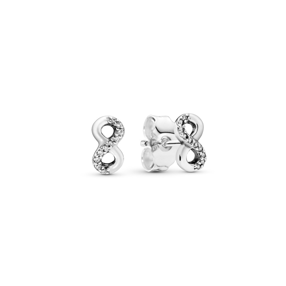 Infinite Love Stud Earrings, Clear CZ, Sterling silver, Cubic Zirconia - PANDORA - #290695CZ
