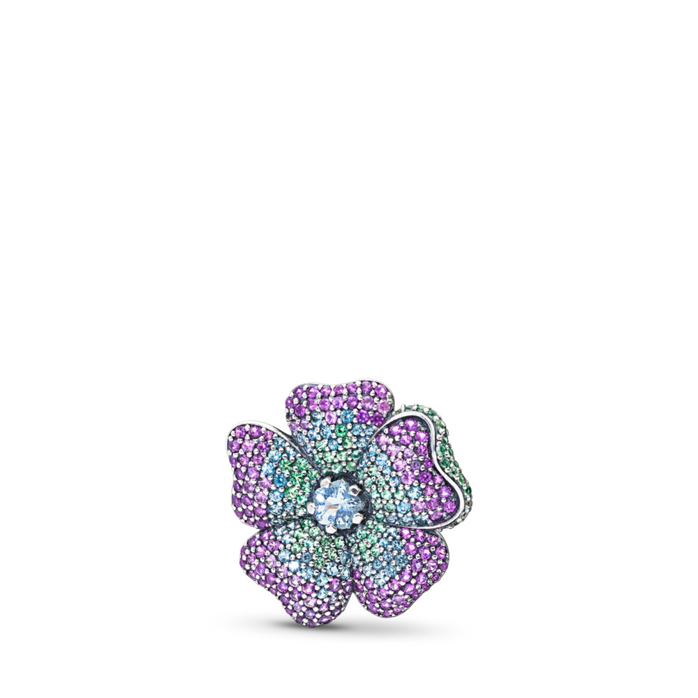 Glorious Bloom Pendant, Multi-Colored CZ, Sterling silver, Blue, Crystal - PANDORA - #397081NRPMX