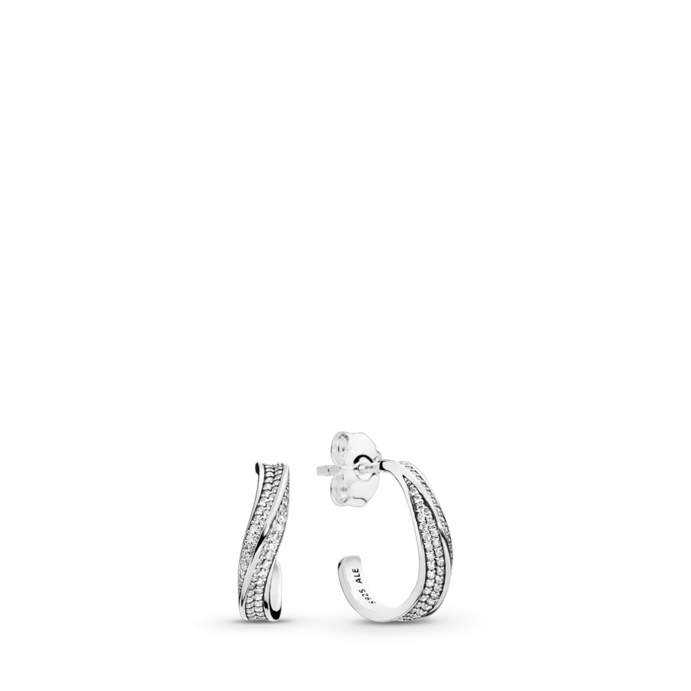Elegant Waves Hoop Earrings, Clear CZ, Sterling silver, Cubic Zirconia - PANDORA - #297097CZ