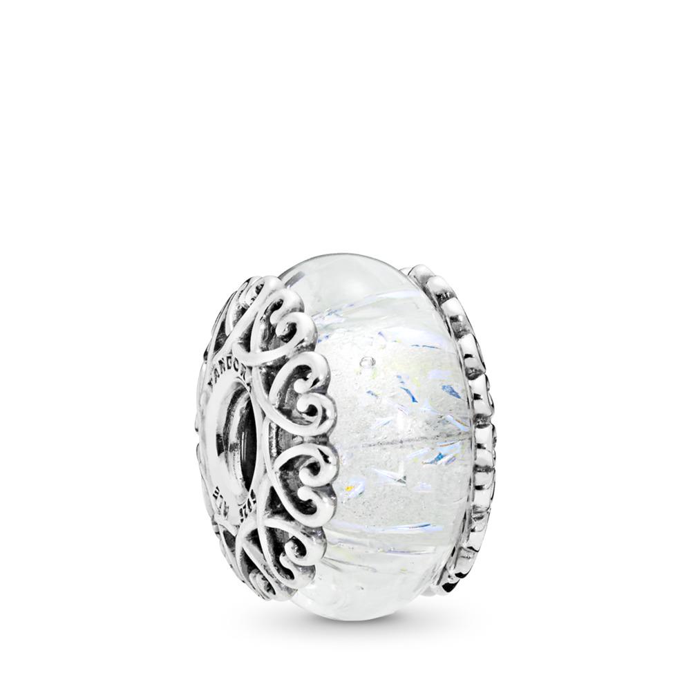 Iridescent White Glass Charm, Sterling silver, Glass, White - PANDORA - #797617