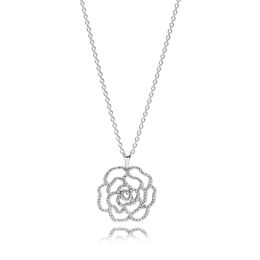 Shimmering Rose Pendant Necklace, Clear CZ