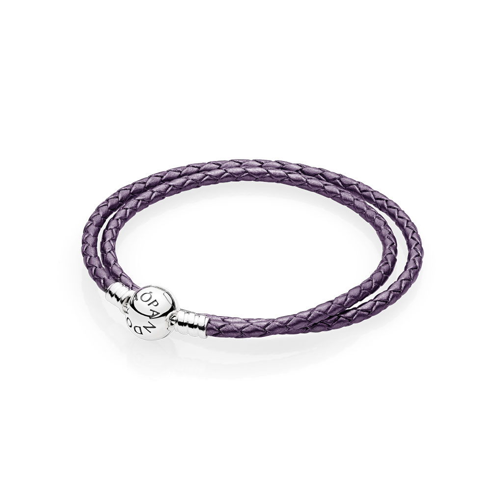 Purple Braided Double Leather Charm Bracelet