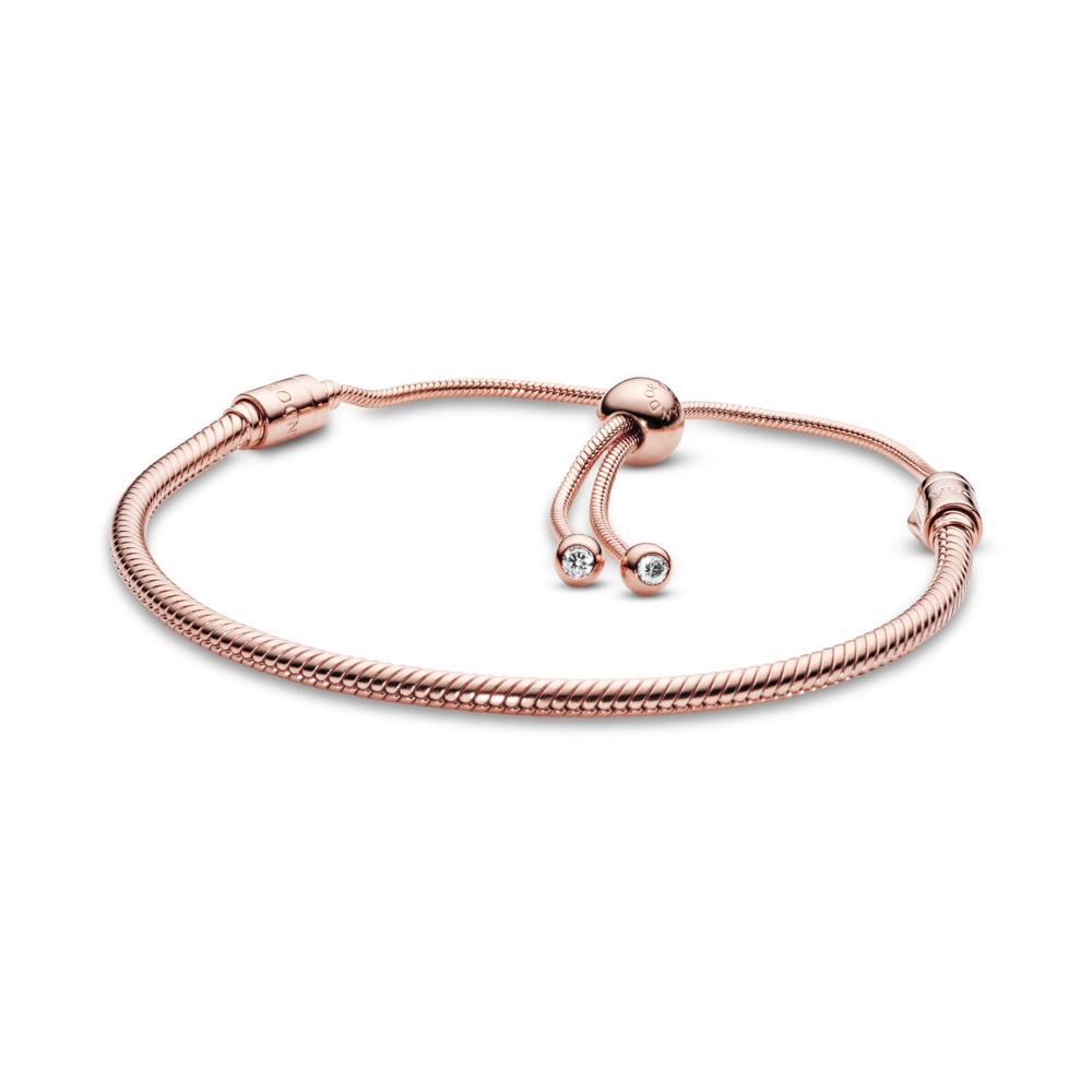 Moments Snake Chain Slider Bracelet, PANDORA Rose, Silicone, Cubic Zirconia - PANDORA - #587125CZ