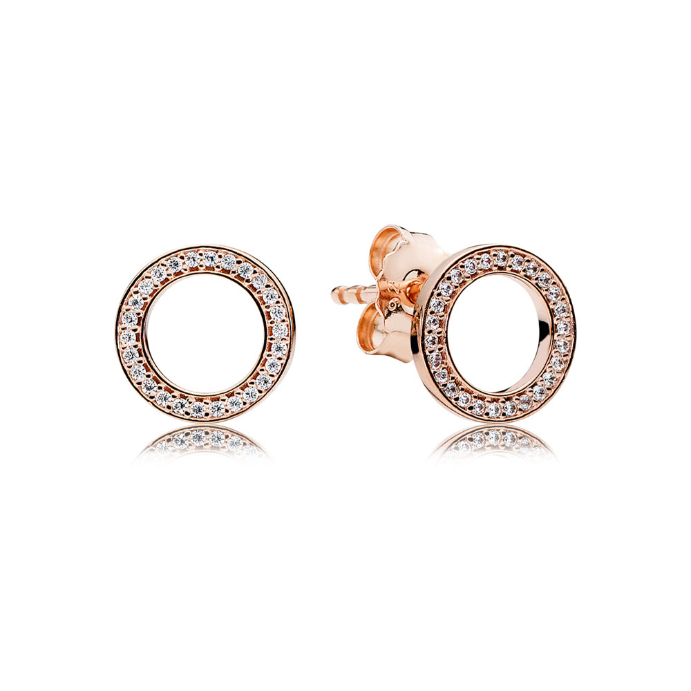 Forever PANDORA Stud Earrings, PANDORA Rose™ & Clear CZ
