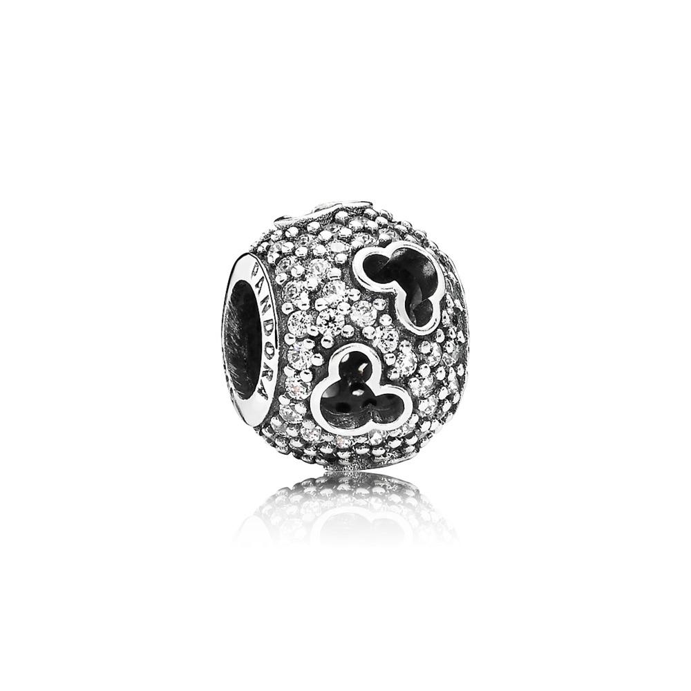 Disney, Mickey Silhouettes Charm, Clear CZ, Sterling silver, Cubic Zirconia - PANDORA - #791442CZ