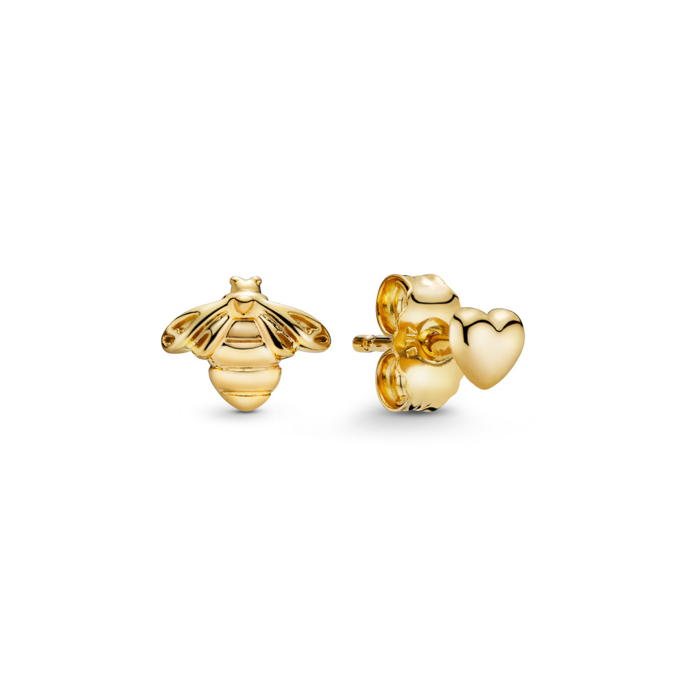 Heart & Bee Stud Earrings, PANDORA Shine™, 18ct Gold Plated - PANDORA - #267071
