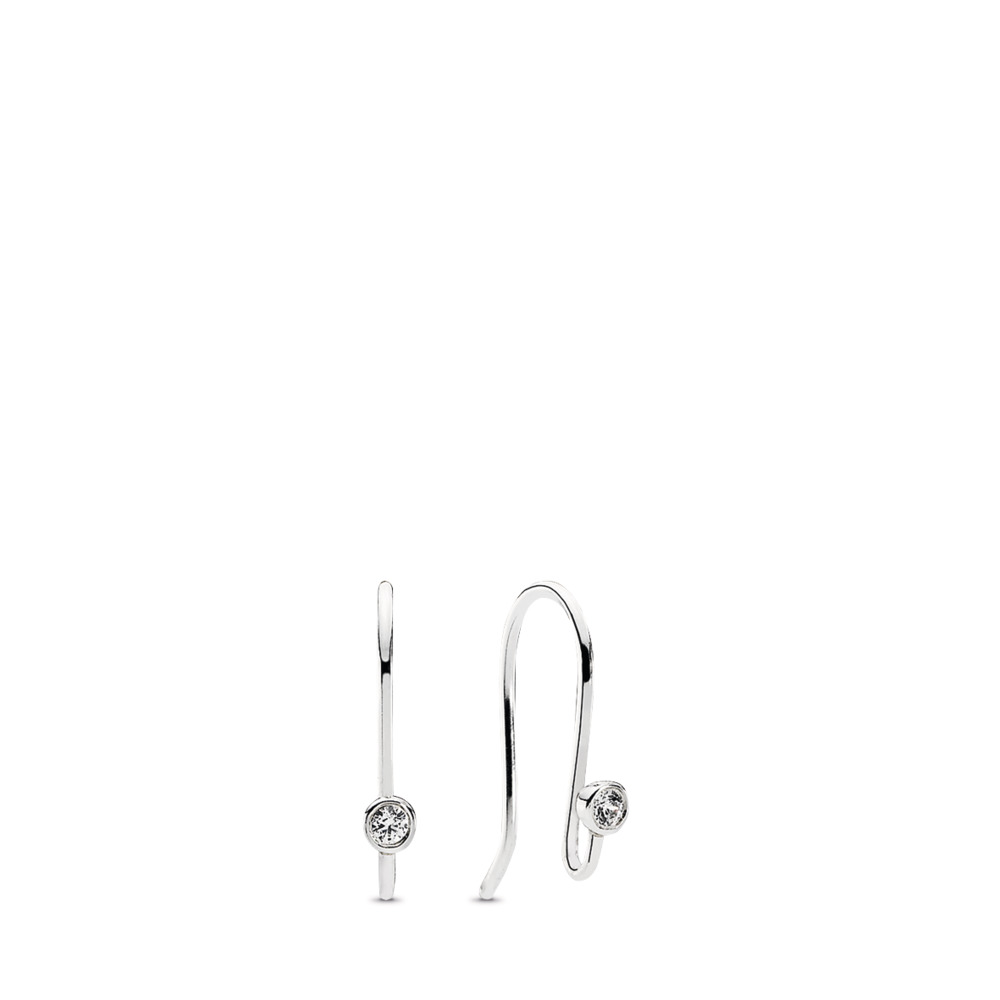 Post Earrings, Clear CZ, Sterling silver, Cubic Zirconia - PANDORA - #290677CZ