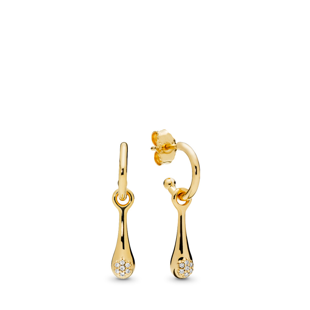 Modern LovePods™ Earrings, PANDORA Shine™ & Clear CZ, 18ct Gold Plated, Cubic Zirconia - PANDORA - #267357CZ