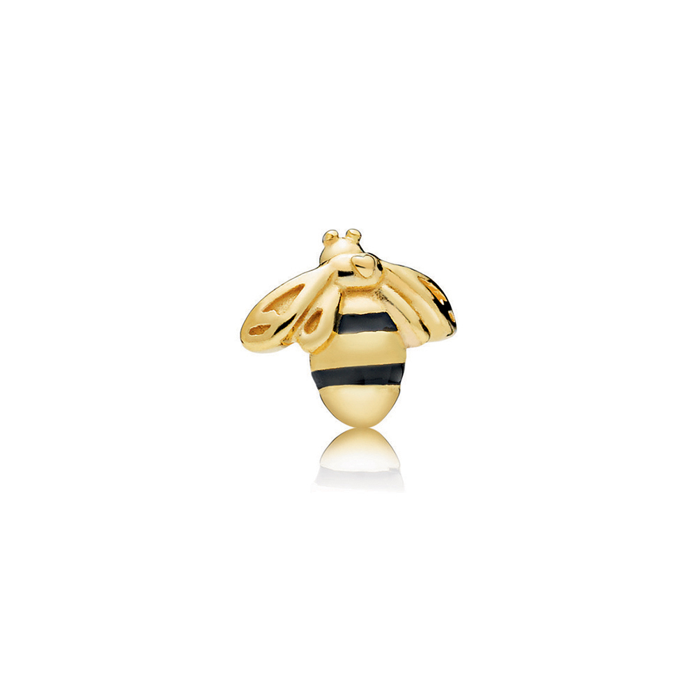 Queen Bee Petite Locket Charm, PANDORA Shine™ & Black Enamel