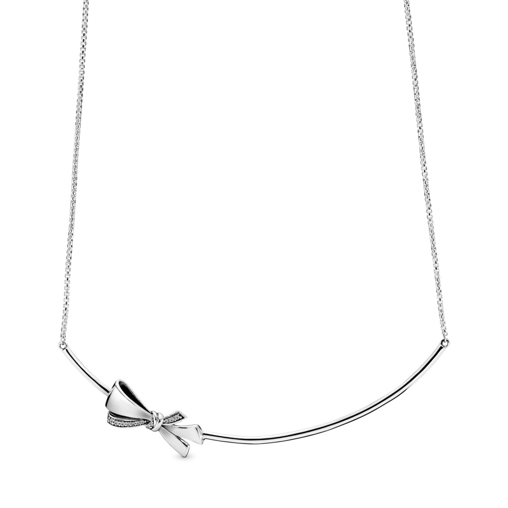 Brilliant Bow Necklace, Clear CZ, Sterling silver, Silicone, Cubic Zirconia - PANDORA - #397233CZ