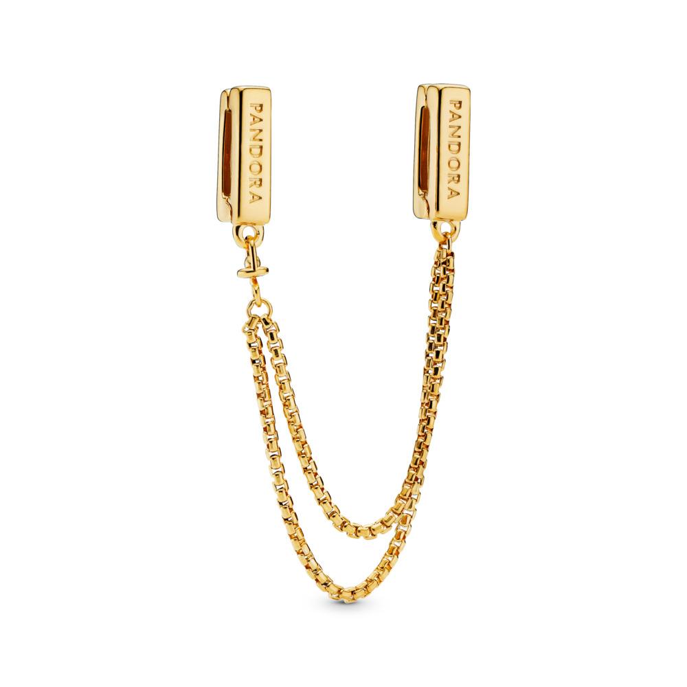 PANDORA Reflexions™ Floating Chains Safety Chain, PANDORA Shine™, 18ct Gold Plated, Silicone - PANDORA - #767601