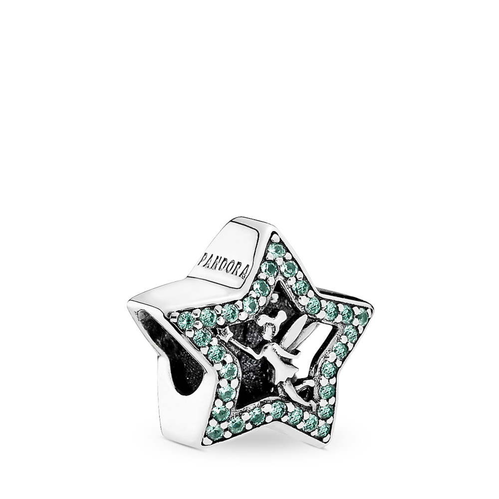 Disney, Tinker Bell Star Charm, Green CZ, Sterling silver, Green, Crystal - PANDORA - #791920NPG