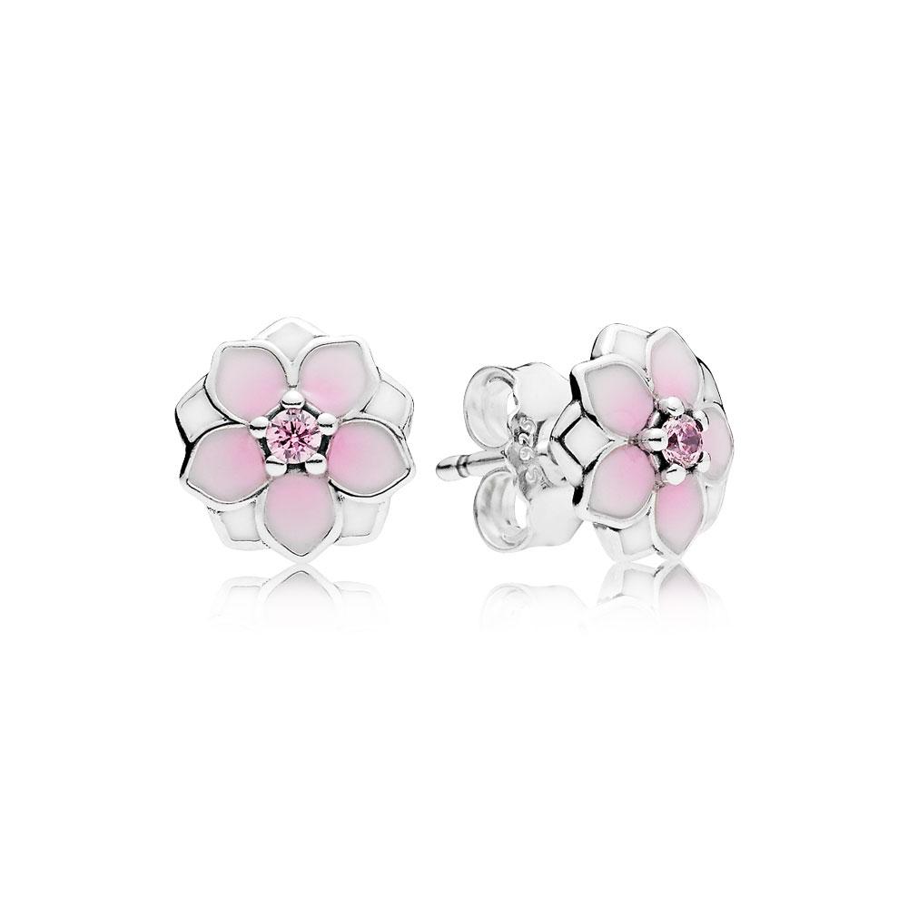 Magnolia Bloom Stud Earrings, Pale Cerise Enamel & Pink CZ