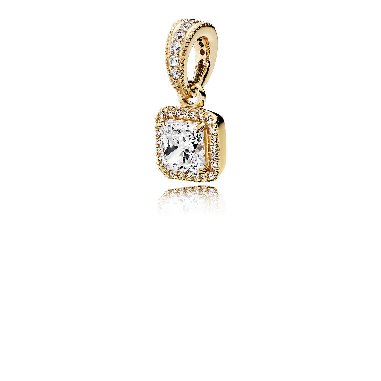 Timeless Elegance, Pendant 14K Gold & Clear CZ