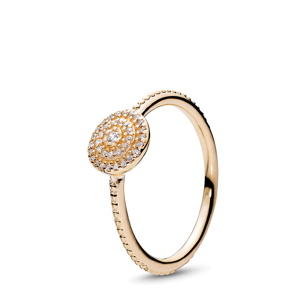 Radiant Elegance Ring, 14K Gold & Clear CZ, Yellow Gold 14 k, Cubic Zirconia - PANDORA - #150184CZ