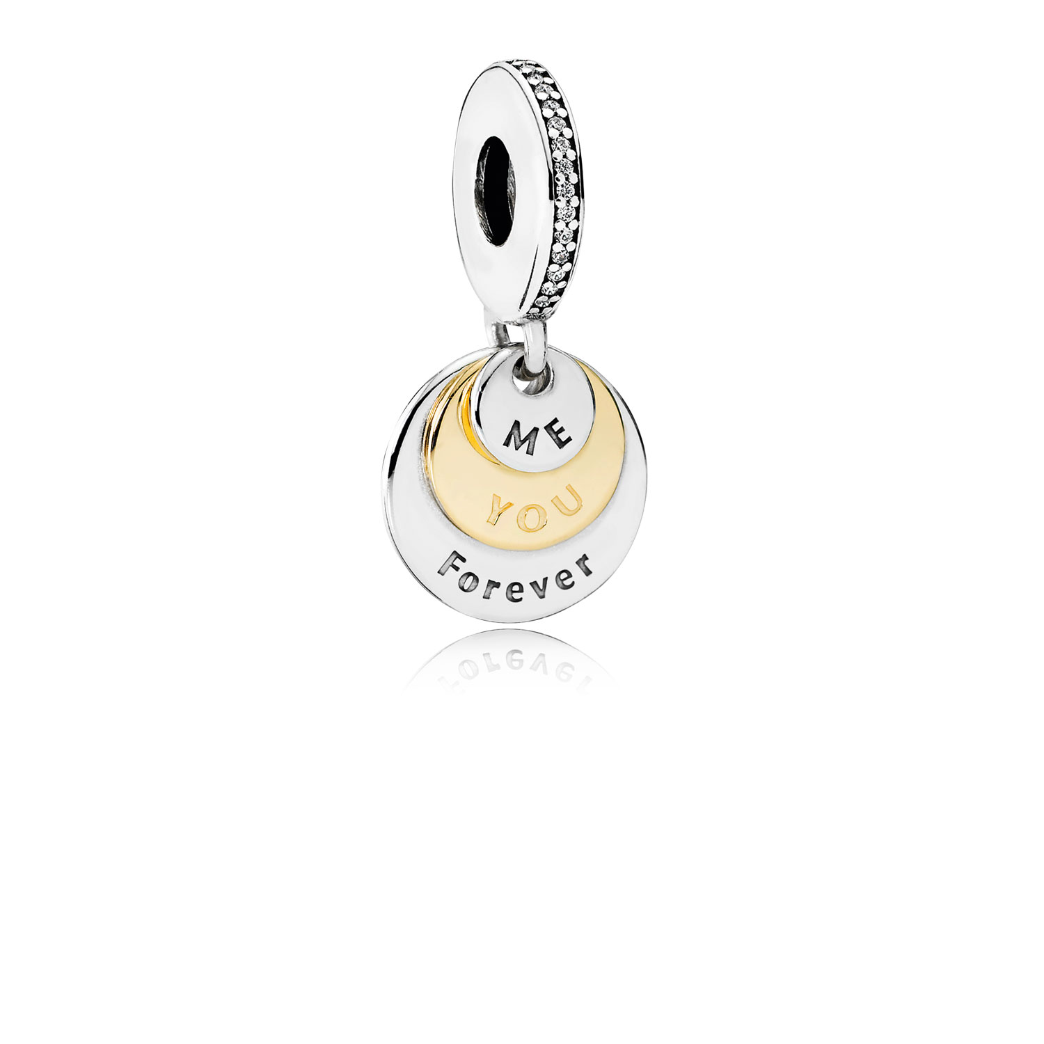You & Me Forever Dangle Charm, Clear CZ