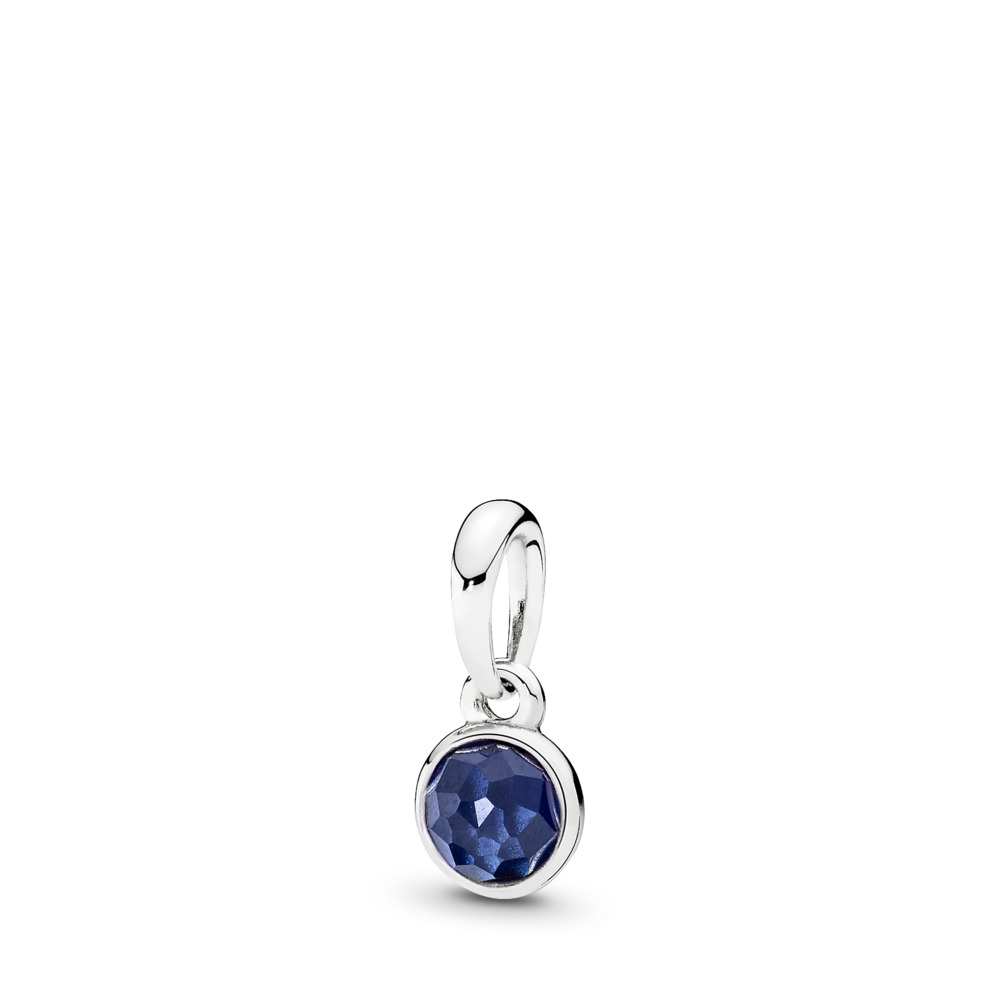 September Droplet Pendant, Synthetic Sapphire, Sterling silver, Blue, Synthetic sapphire - PANDORA - #390396SSA