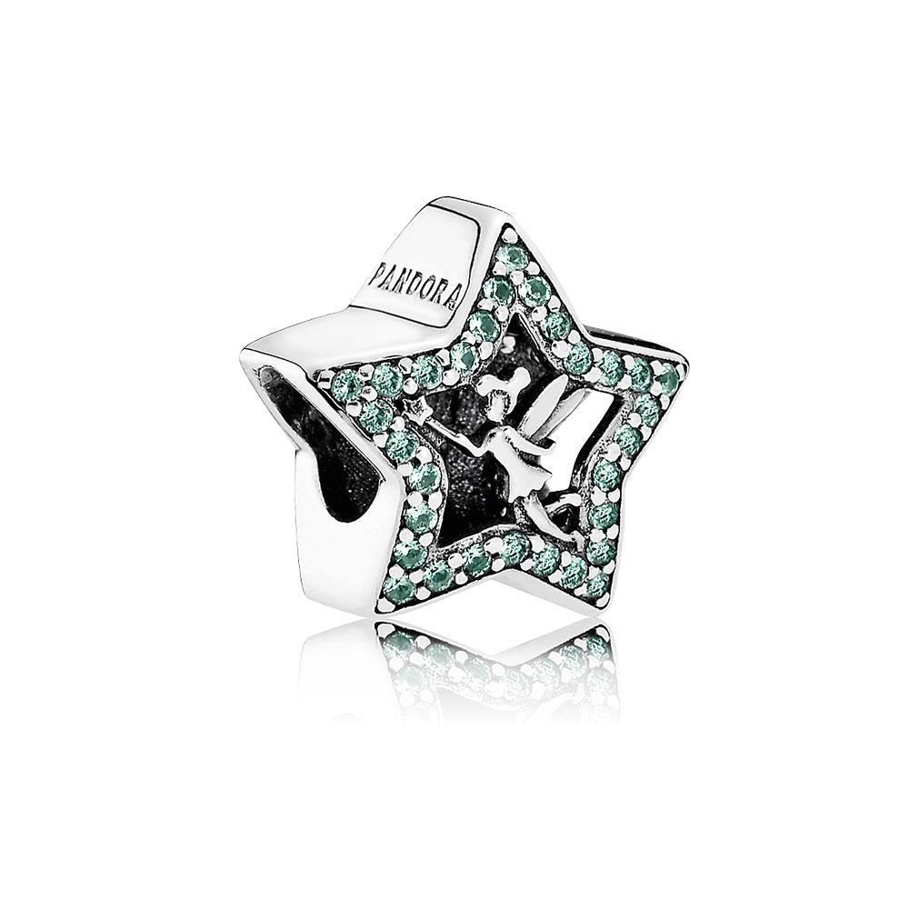 Disney, Tinker Bell Star Charm, Green CZ