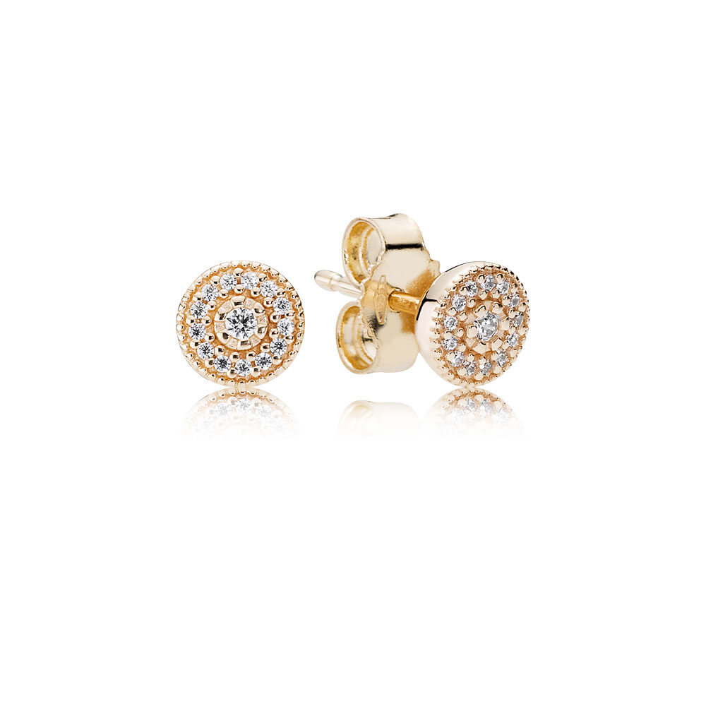 Radiant Elegance Stud Earrings, 14K Gold & Clear CZ