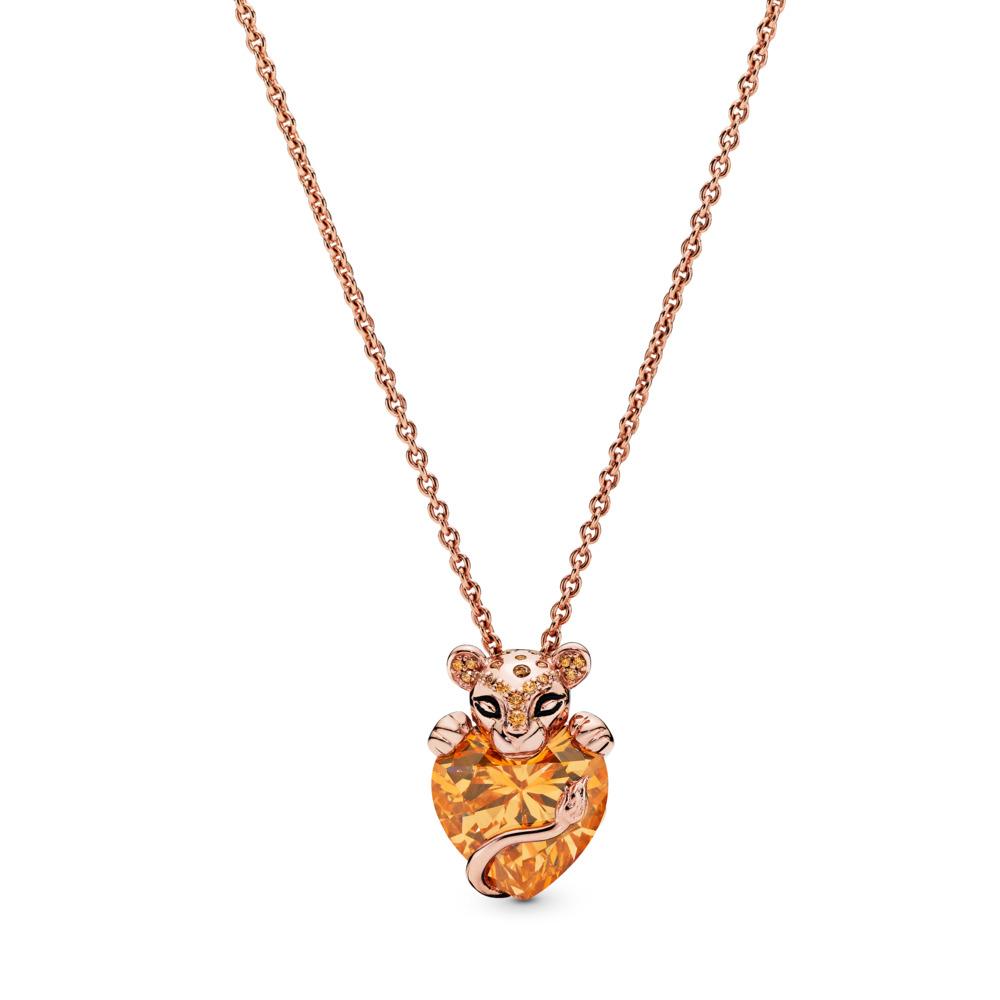 Sparkling Lion Princess Heart Necklace, Pandora Rose™, PANDORA Rose, Silicone, Black, Cubic Zirconia - PANDORA - #388068CZM