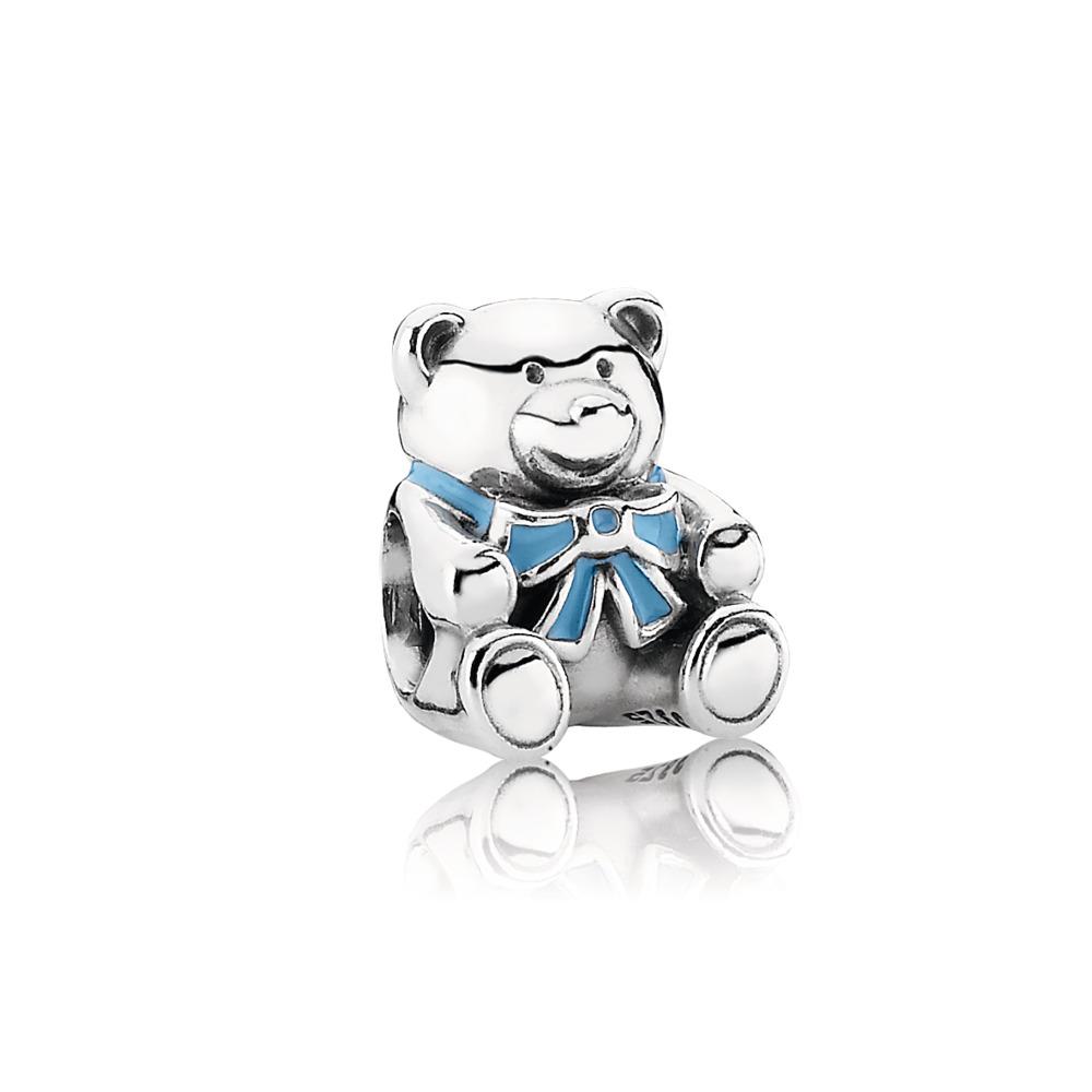 """""""It's A Boy"""" Teddy Bear Charm, Blue Enamel, Sterling silver, Enamel, Blue - PANDORA - #791124EN41"""
