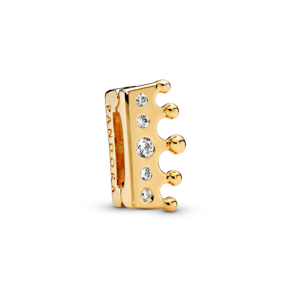 PANDORA Reflexions™ Crown Clip Charm, PANDORA Shine™ & Clear CZ, 18ct Gold Plated, Silicone, Cubic Zirconia - PANDORA - #767599CZ