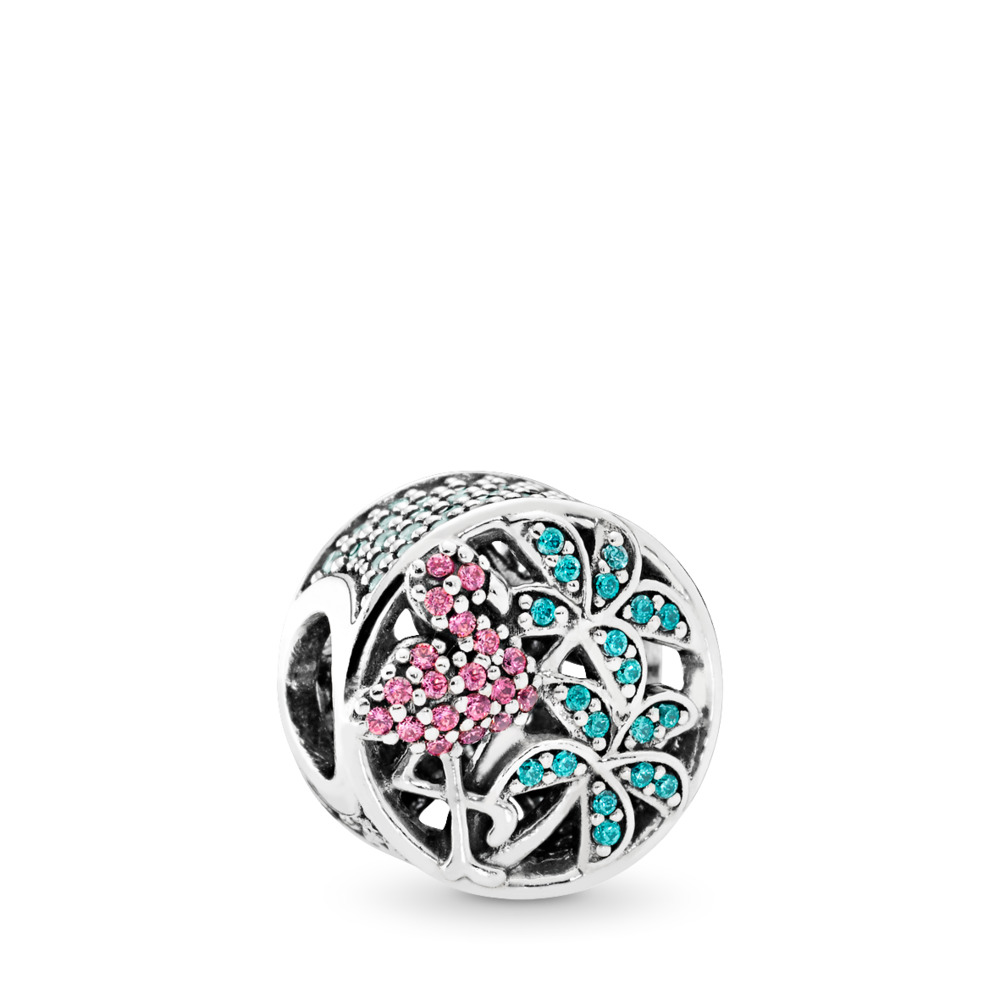 Tropical Flamingo, Light Green Crystals & Multi-Colored CZ, Sterling silver, Blue, Mixed stones - PANDORA - #792117CZS