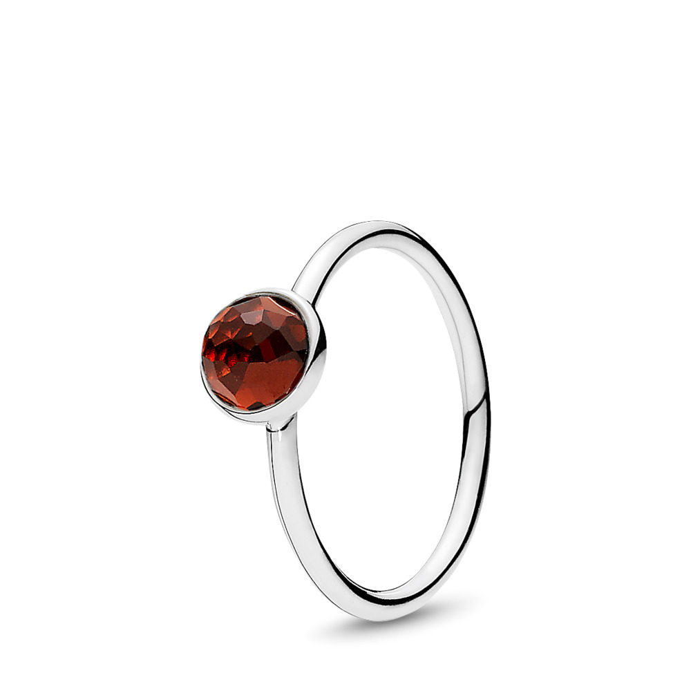 January Droplet Ring, Garnet, Sterling silver, Red, Garnet - PANDORA - #191012GR