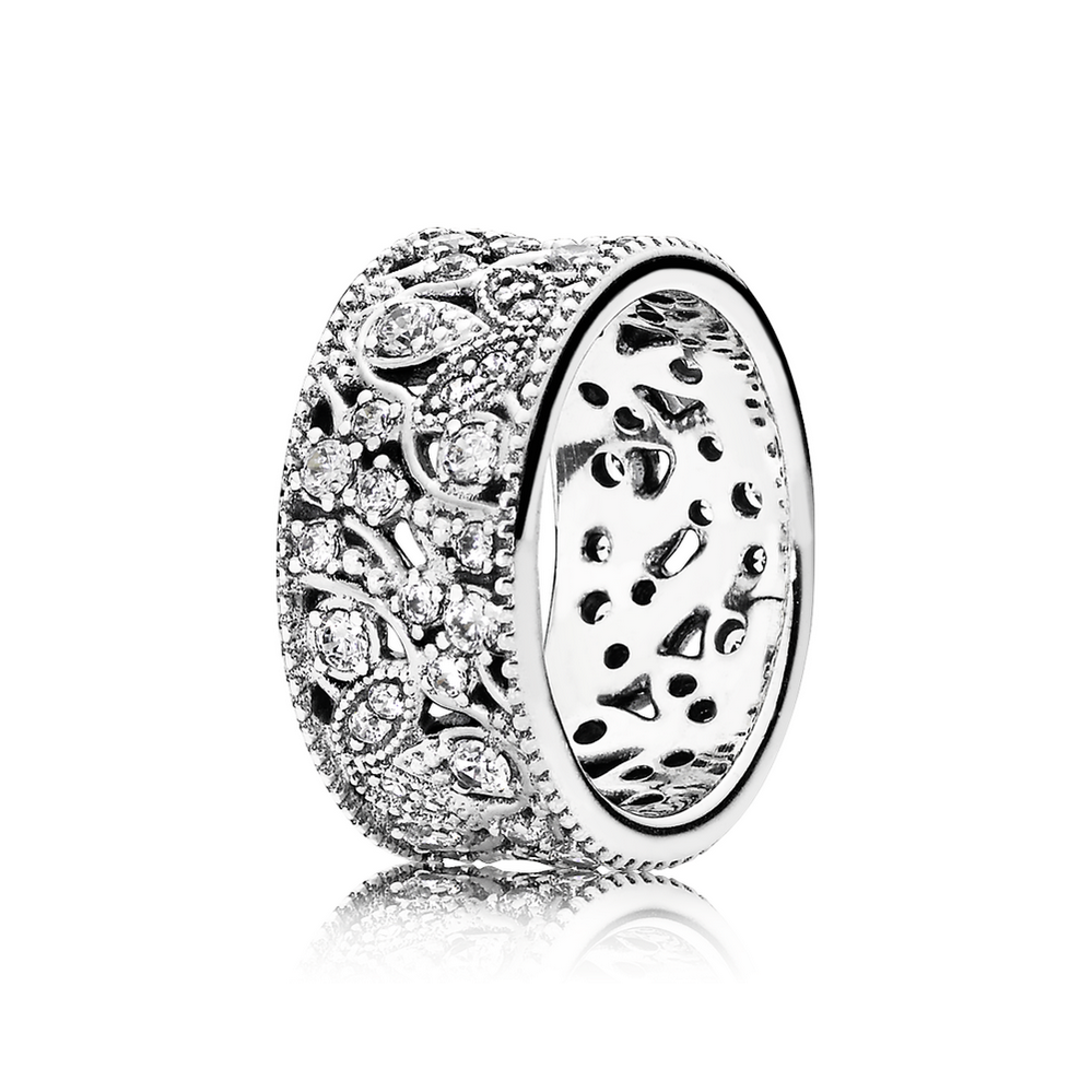 Shimmering Leaves Ring, Clear CZ