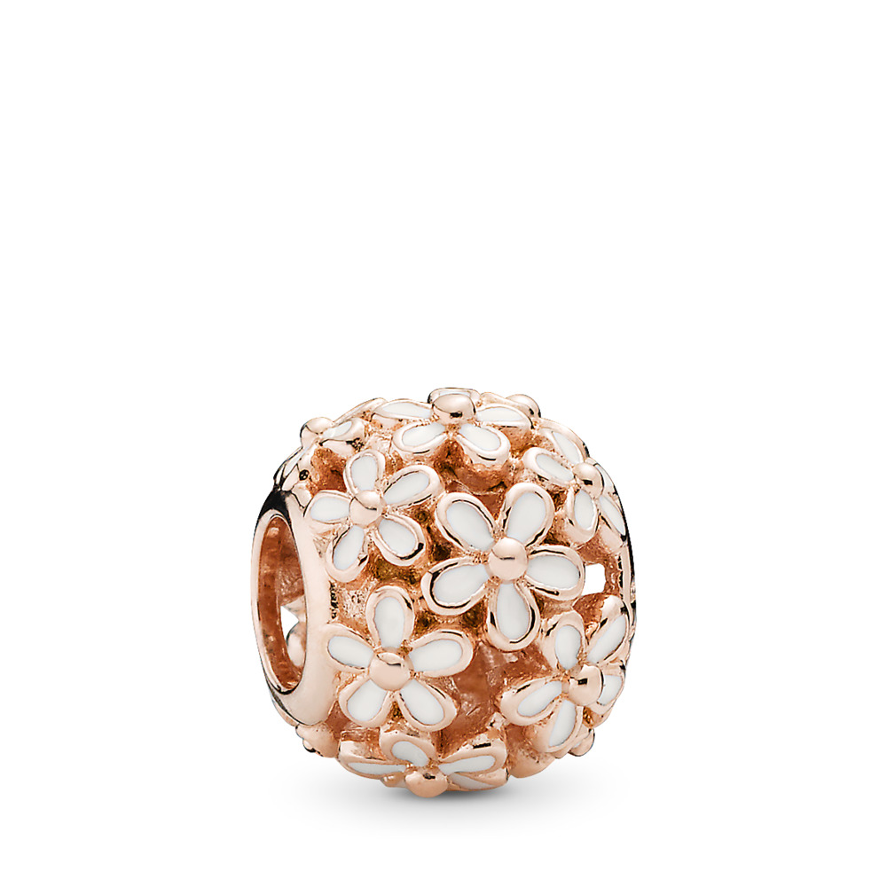 Darling Daisy Meadow Charm, PANDORA Rose™ & White Enamel, PANDORA Rose, Enamel, White - PANDORA - #780004EN12