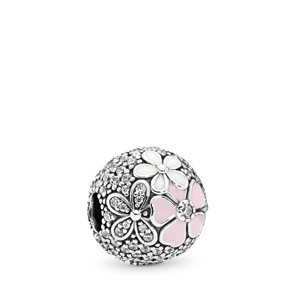 Poetic Blooms, Mixed Enamels & Clear CZ, Sterling silver, Enamel, Pink, Cubic Zirconia - PANDORA - #792084CZ