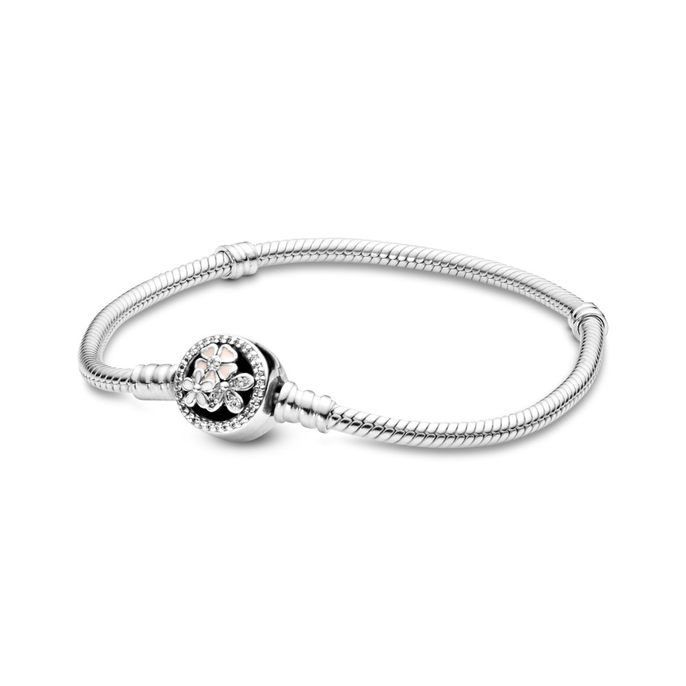 Poetic Blooms Bracelet, Mixed Enamels & Clear CZ, Sterling silver, Enamel, Pink, Cubic Zirconia - PANDORA - #590744CZ