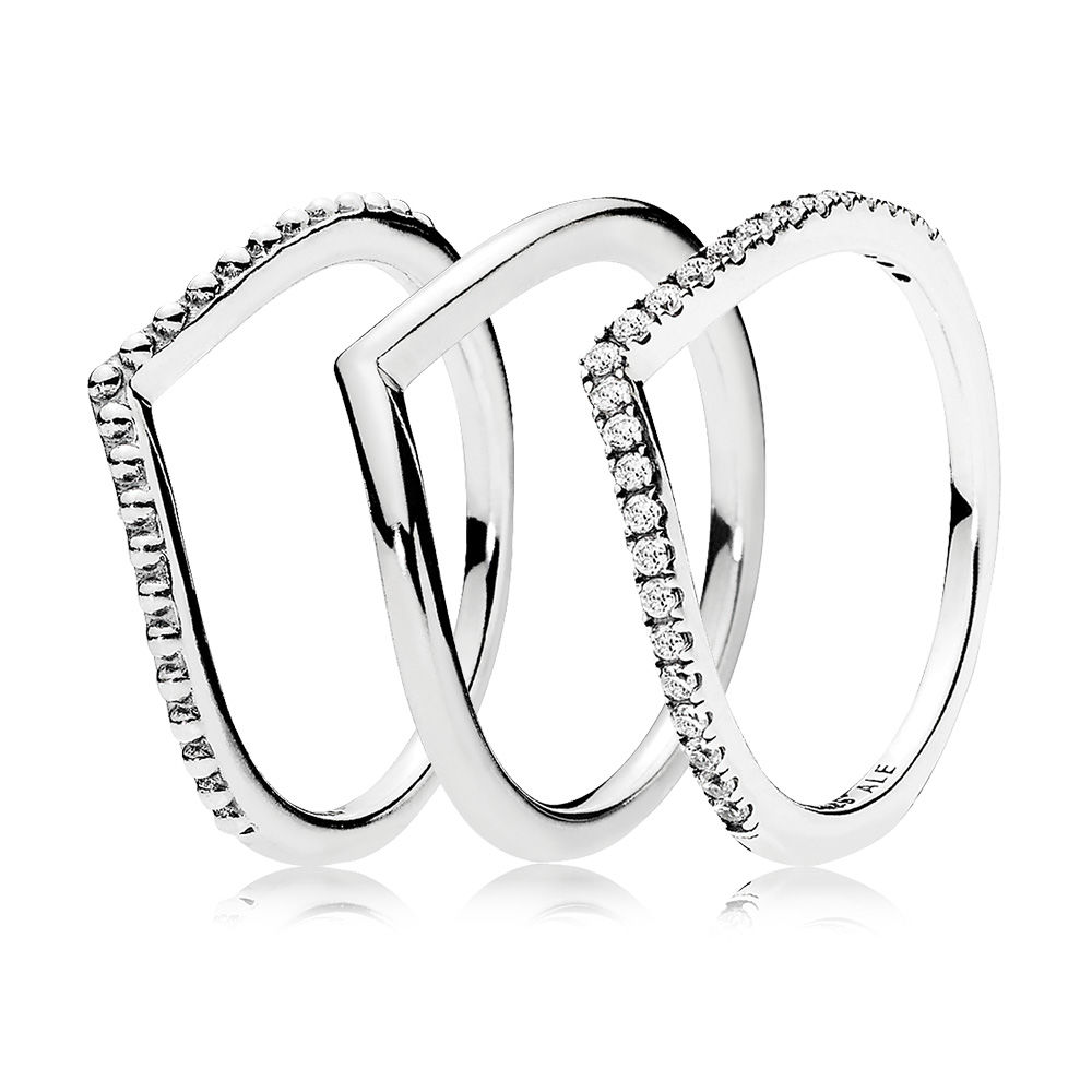 Wishbone Ring Stack, Sterling Silver - PANDORA - #CS1712