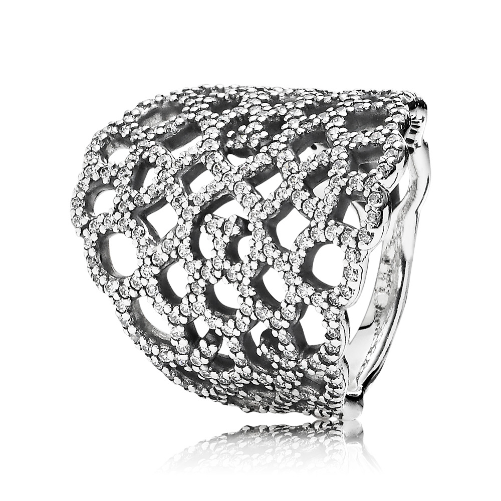 Shimmering Lace Ring, Clear CZ