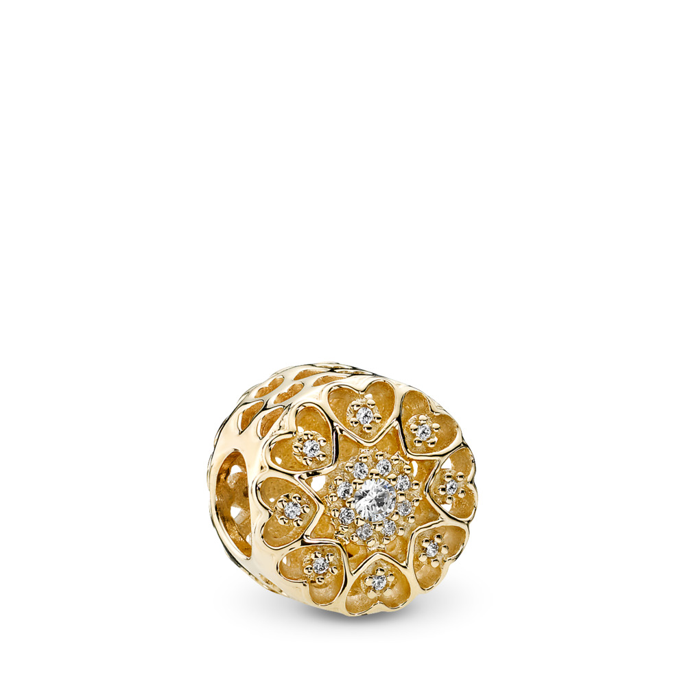 Hearts of Gold Charm, Clear CZ & 14K Gold, Yellow Gold 14 k, Cubic Zirconia - PANDORA - #750841CZ
