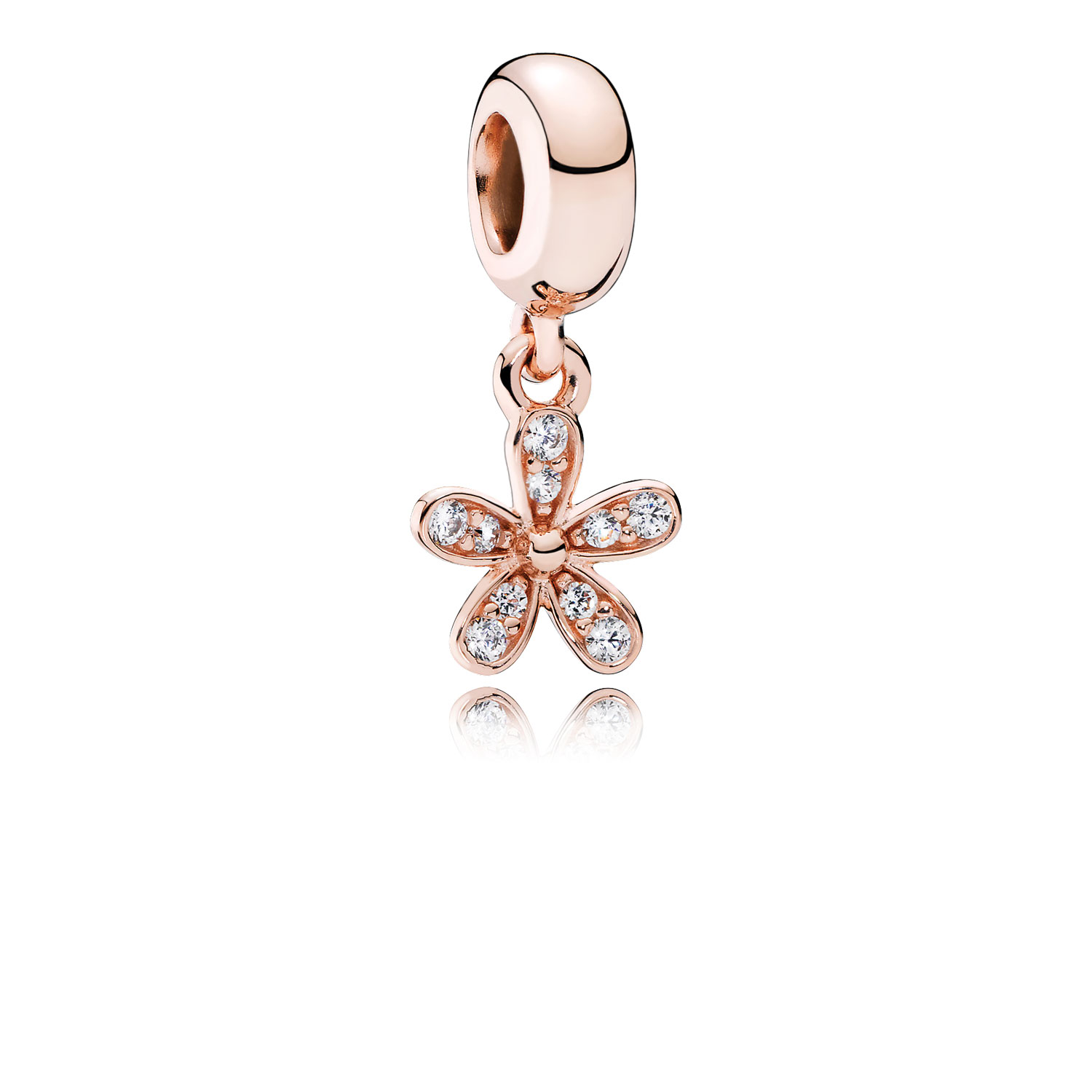 Dazzling Daisy Dangle Charm, PANDORA Rose™ & Clear CZ