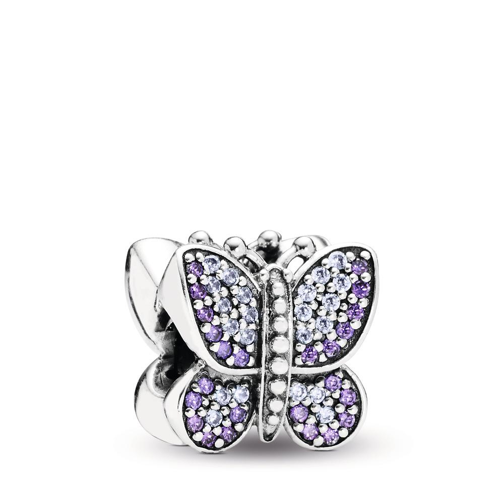 Sparkling Butterfly Charm, Purple CZ, Sterling silver, Purple, Cubic Zirconia - PANDORA - #791257ACZ