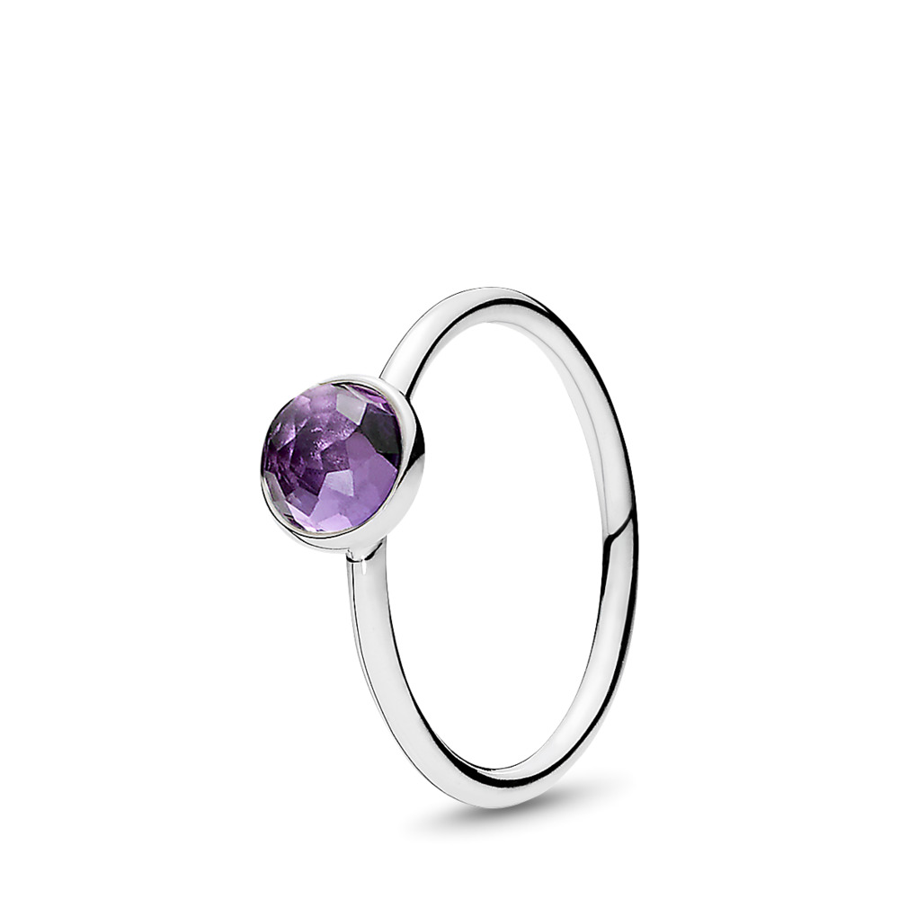 February Droplet Ring, Synthetic Amethyst, Sterling silver, Purple, Synthetic Amethyst - PANDORA - #191012SAM
