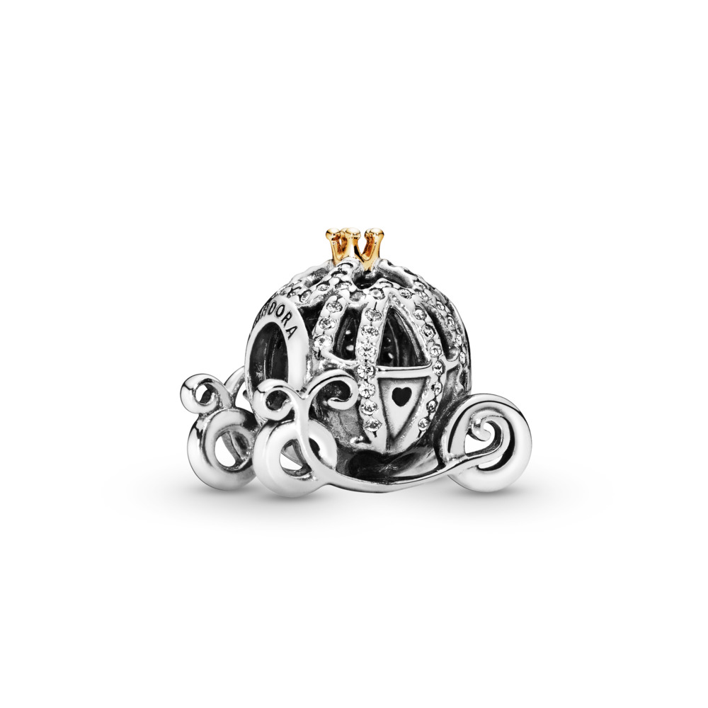 Disney, Cinderella's Pumpkin Coach Charm, Clear CZ, Two Tone, Cubic Zirconia - PANDORA - #791573CZ