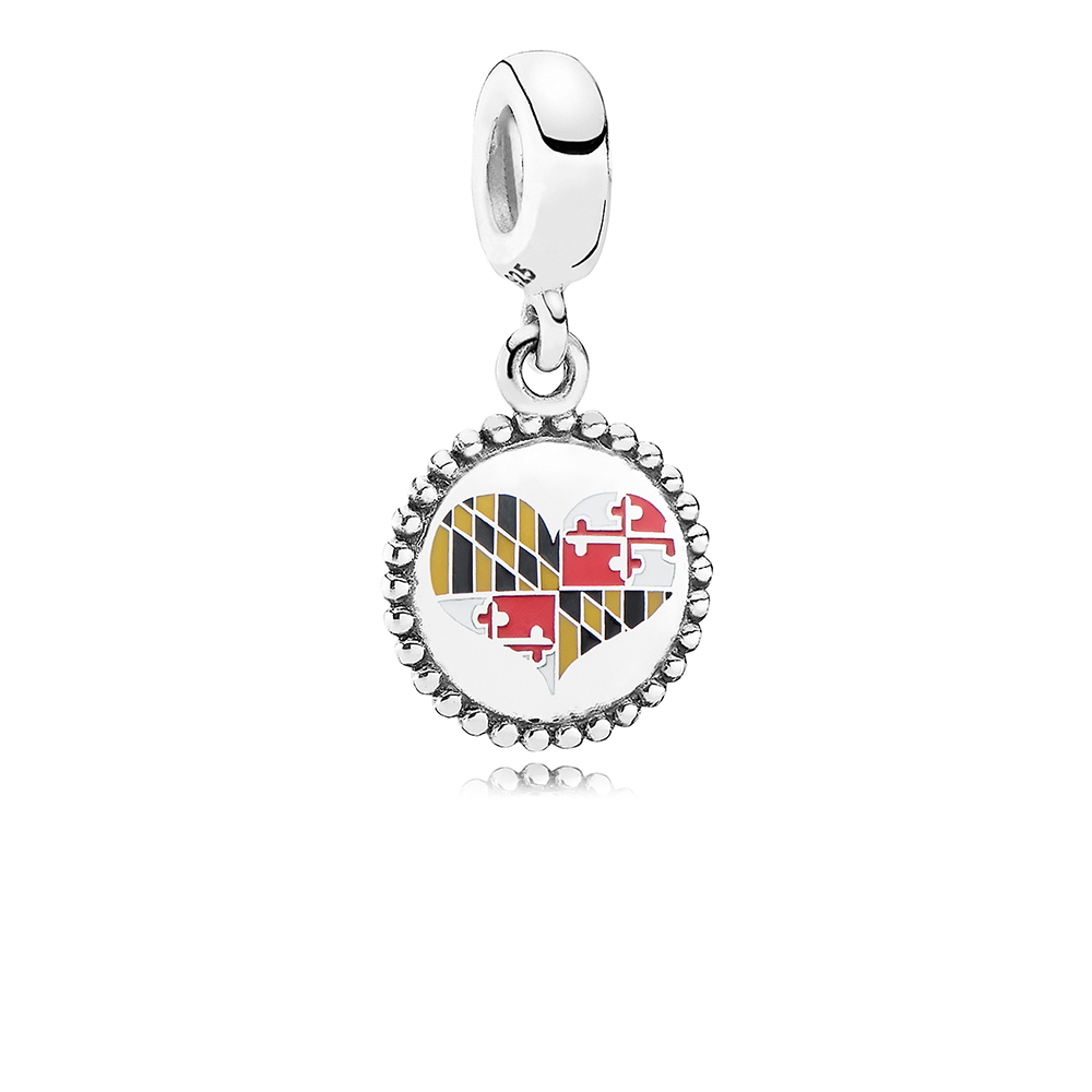 Maryland Flag Heart Dangle Charm, Mixed Enamel