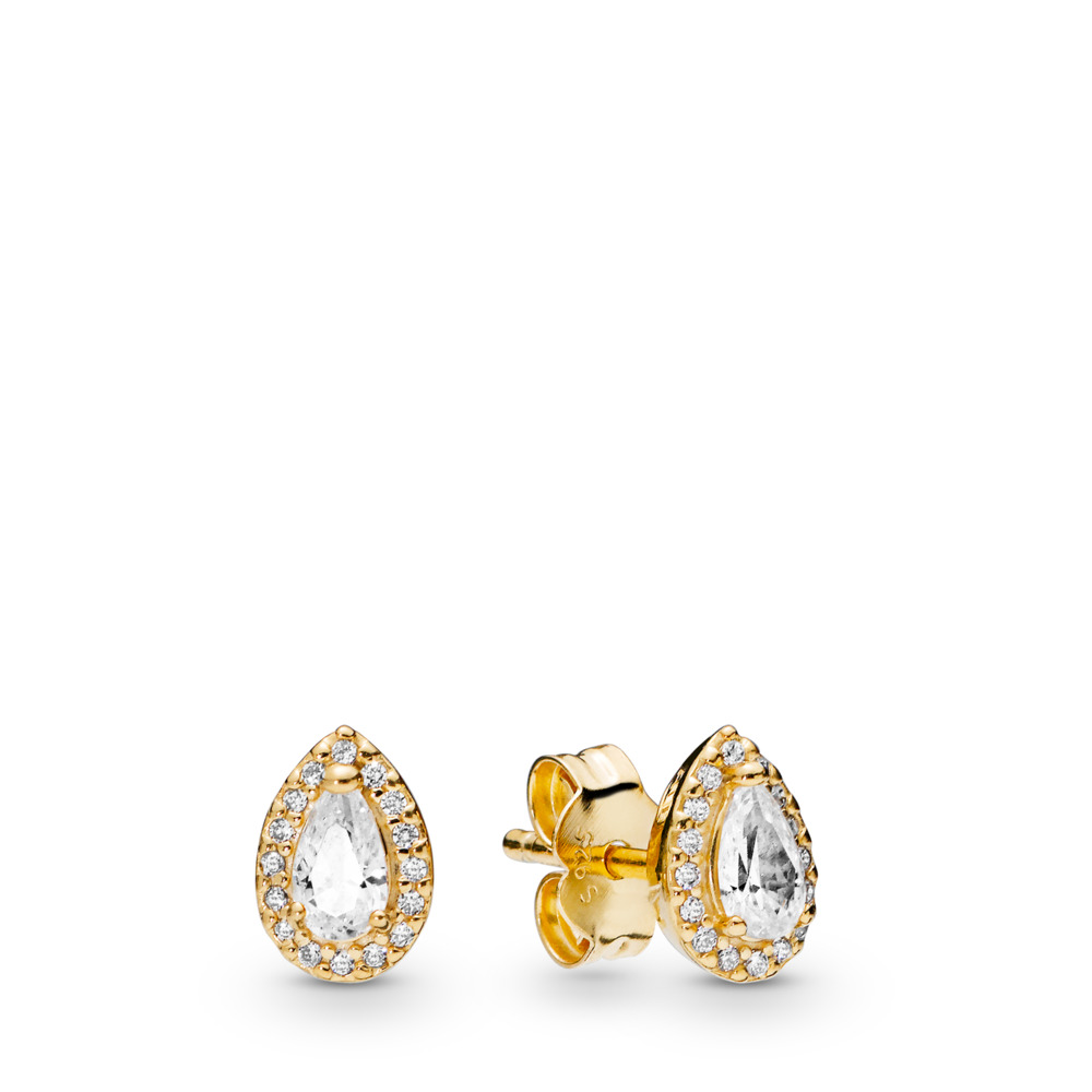 Radiant Teardrop Earrings, Pandora Shine™, 18ct Gold Plated, Cubic Zirconia - PANDORA - #266252CZ
