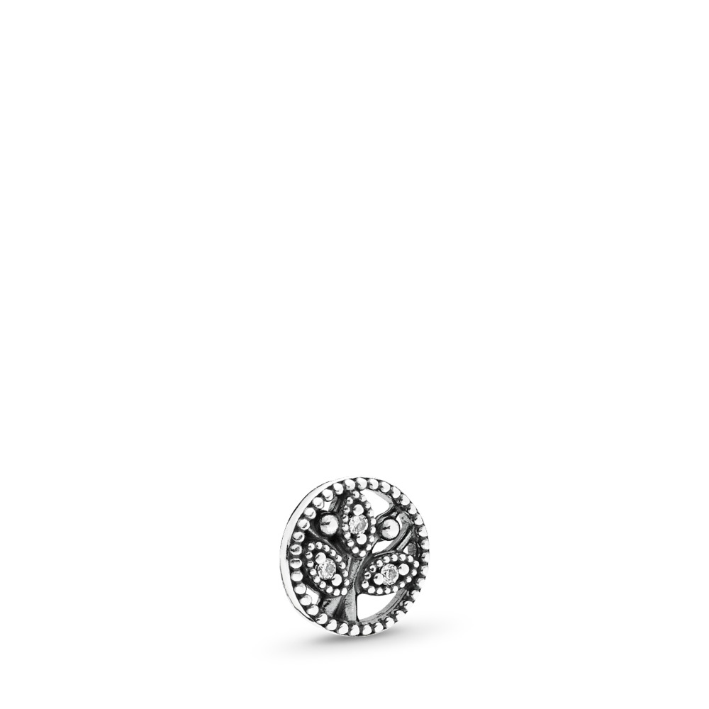 Family Heritage Petite Locket Charm, Sterling silver, Cubic Zirconia - PANDORA - #792165CZ