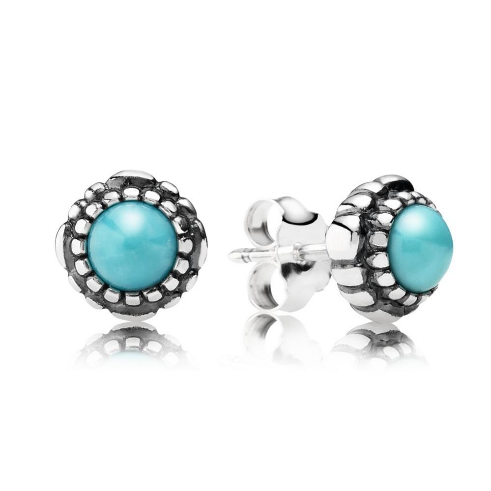 Birthday Blooms Stud Earrings, December, Turquoise