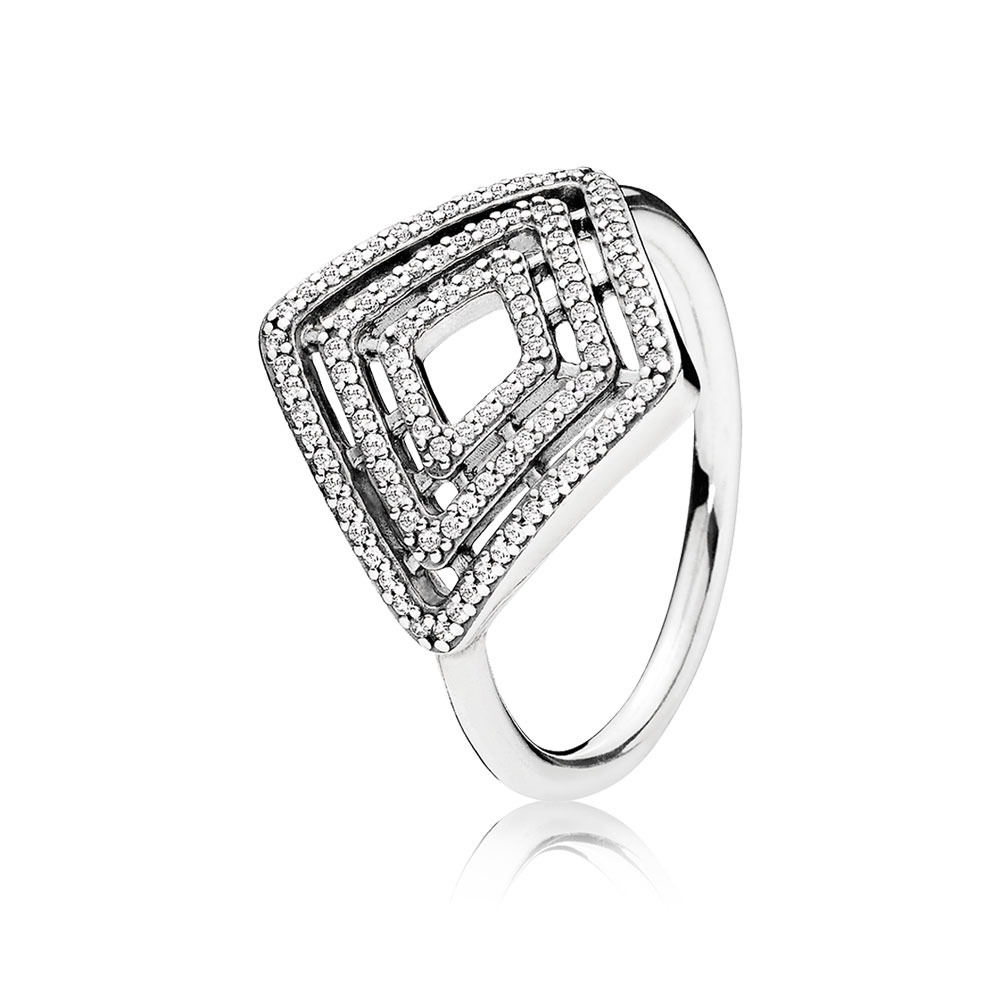 Geometric Lines Ring, Clear CZ